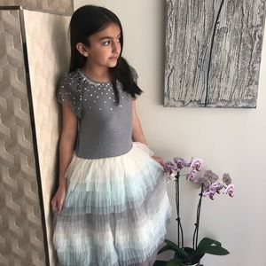 Girls Grey and Blue Ballerina Tulle Dress.